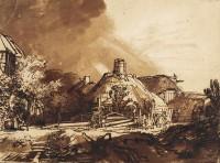 Zeichnung von Rembrandt mit Gewitterwolken