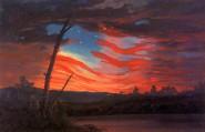 US-amerikanische Flagge als Abendhimmel